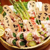 野菜などをを豚バラで巻きヘルシーかつジューシーな博多串!