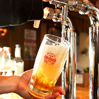 沖縄オリオンビールを生ビールで♪半分サイズのちびオリオンも◎