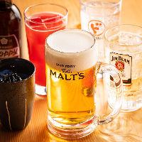 ビールをはじめ日本酒・焼酎、サワーなど多彩なドリンクを用意