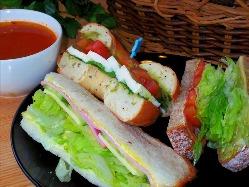 サンドイッチ3個(ハーフ)とスープのセット