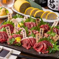 熊本郷土料理の数々。馬刺 レバ刺始め牧場 養鶏場 農家より直送