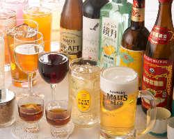 [飲み放題ドリンク充実] 生ビールから各種サワー、紹興酒もOK♪