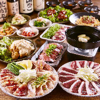 鶏・鴨・豚・牛・馬の5種贅沢肉盛り「肉!肉!まんぷくコース」