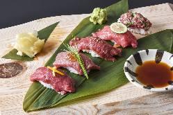 肉寿司は贅沢の極み。 「炙り和牛の握り五貫盛り」