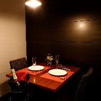 接待や記念日などに最適な少人数向け完全個室を完備