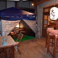 暖が取れるようテントを設置した冬の4〜6名様テラス席も人気