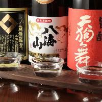 日本酒と焼酎の飲み比べとても好評頂いております!