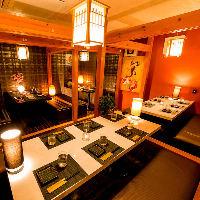 和を基調としたモダン雰囲気が自慢の完全個室。昼宴会も大歓迎!