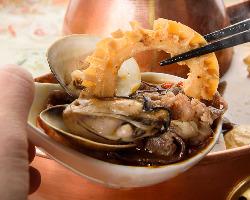 お肉、お野菜、魚介類、様々な様々な食材が食べられます