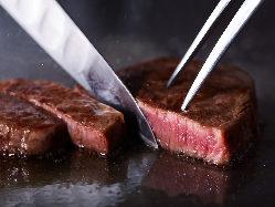 当店自慢の京都牛最上級A5ヒレ肉を堪能。