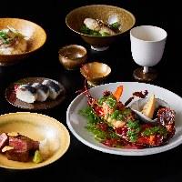 旬の食材を使った花六でしか味わえない創作鉄板料理。