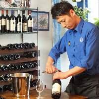 お料理に合わせて、ソムリエがワインをセレクト致します。