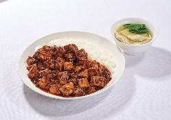本格四川麻婆豆腐とワンタンスープセットです。