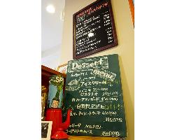 前菜のおすすめや手作りデザートは、黒板メニューを要チェック。
