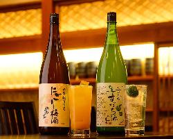徳島県産果実酒や焼酎も種類豊富にご用意しております。