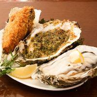 色んな食べ方が楽しめる牡蠣は盛り合わせが◎