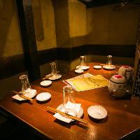 隠れ家のような少人数半個室など、落ち着きある空間をご提供