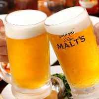 飲み放題ドリンクも充実!!生ビール、サワー各種、紹興酒もOK♪