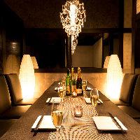 ◆優しく灯る間接照明が印象的な個室。団体様も最大70名様迄◆