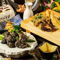 地鶏割烹料理を飲み放題付きで豊富にご用意!