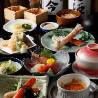 日本酒と楽しみたい8品仕立て「かに天コース」6,000円(税抜)