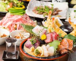 2時間飲み放題付コースお一人様4,000円~。旬の料理を堪能!