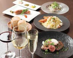 平日ペア限定コースは料理が選べてグラスワイン3杯付で大満足