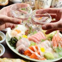 日本酒と新鮮なお刺身で乾杯