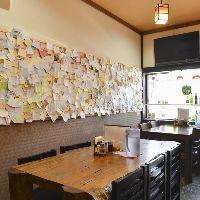 <メッセージ> お客様からのメッセージ カードが壁一面に!
