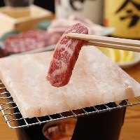 塩岩プレートの肉焼き!