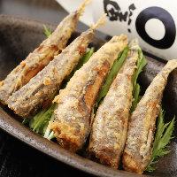 メヒカリをサクッと揚げた逸品。ふわふわの食感を楽しめます