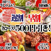 【必見】早&遅割クーポンで全食べ放題コースがなんと500円引き