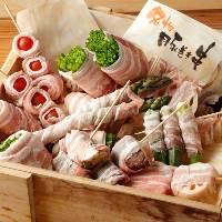 野菜豚巻き串は野菜に甘い脂がジュワッとしみて深みのある味わい