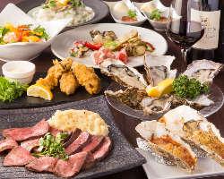 牡蠣三昧の料理&ローストビーフ付きの『YUMMYコース』で宴会を