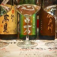 日本酒ひやおろし3種飲み比べ 999円 おしゃれにワイングラスで!