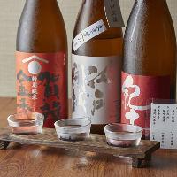 利き酒師セレクトの三種の銘柄が楽しめる「利き酒三種」