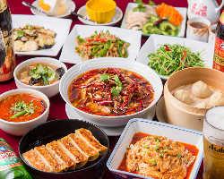 ボリュームと金額共にお得なコースです。本格四川料理を楽しめる