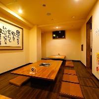 ゆったりとした造りの座敷個室。各種宴会に最適です