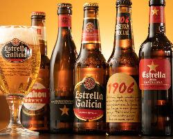 スペイン産ビールやスペインワインを豊富に取り揃えております◎