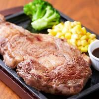 ◆人気USアンガスビーフリブロースステーキ飲み放題付お得コース