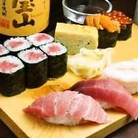 姉妹店の玄海寿司のお寿司がお召し上がりいただけます。
