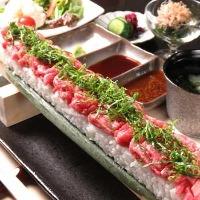 【宴会】ロング和牛肉寿司やお刺身が楽しめる3時間飲放8品¥3500