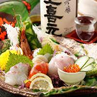 毎朝仕入れる新鮮な海の幸は日本酒との相性も抜群。