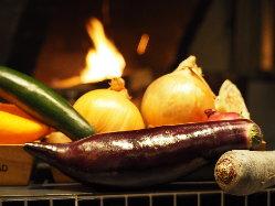 無農薬のお野菜を薪火で