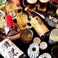 獺祭・大隅・こだわり酒場のレモンサワーなど充実のお飲み物。