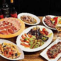 イタリア料理や肉料理を楽しむ飲み放題付きコース5,000円〜