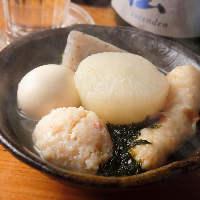 鯛のアラで毎日丁寧に出汁をとる『鯛出汁おでん』で日本酒を