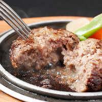 【神戸牛ハンバーグ】 肉汁があふれ出します!