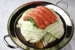 名物!明太モツ鍋。〆のチーズリゾットまでオススメです。