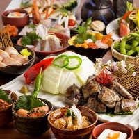 宴会コースは飲み放題付2750円~、食べ放題コースもあり。